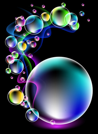 fi: Magic glowing background with neon smoke and fi spectacular bubbles Illustration
