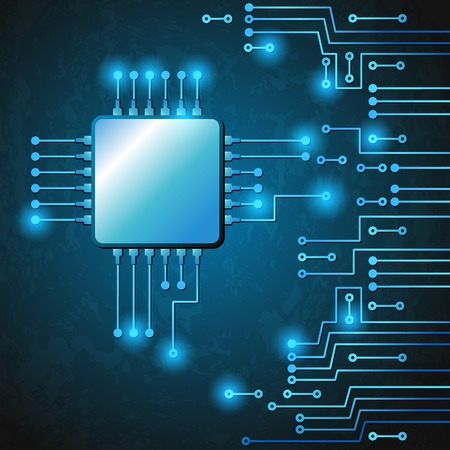 semiconductors: Drawing modern electronic circuit on blue grungy background Illustration