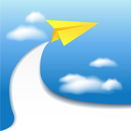 nubes cielo: Flyer plantilla con avi�n de papel y el cielo nubes