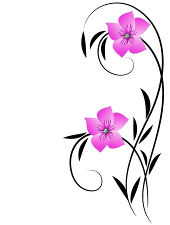 Elegance floral ornament for greeting card