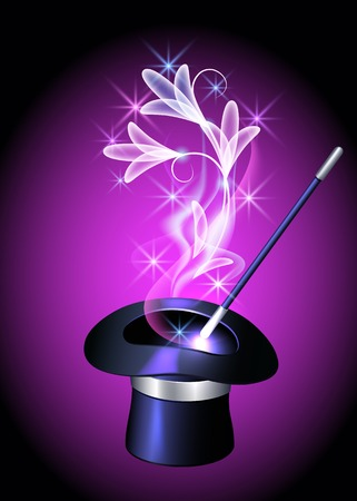 magical equipment: Conjurer hat with magic wand and transparent flowers Illustration
