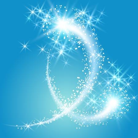 Glühende Gruß und Feuerwerk mit funkeln Sterne Illustration
