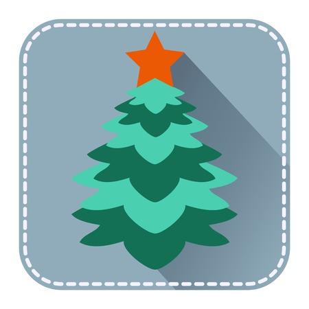 fur tree: Avatar piatto o icona con l'albero di pelliccia di Natale per la progettazione