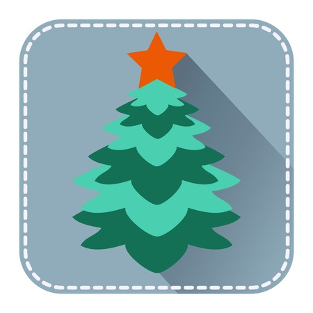 christmas fur tree:  Flat avatar or icon with Christmas fur tree for design