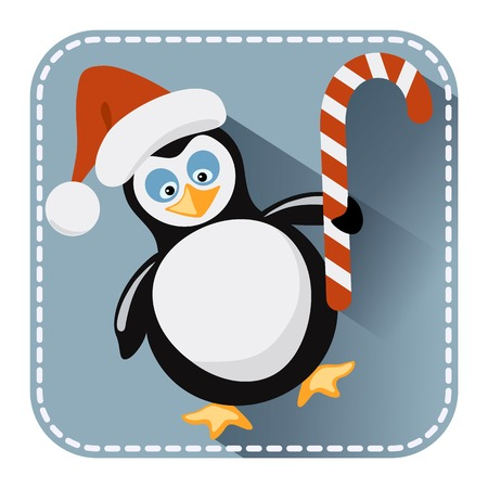 comfit: Flat avatar or icon with penguin in Santa Claus hat and candy bonbon for design   Illustration