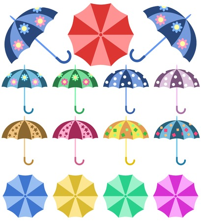Set opened colorful umbrellas rain isolated on white background Vector