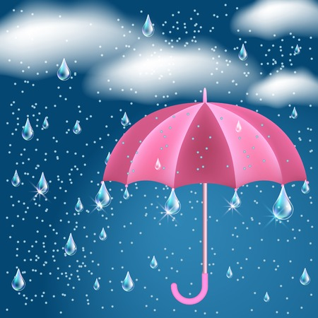 raining background: Clouds with rain in the dark blue sky and opened umbrella
