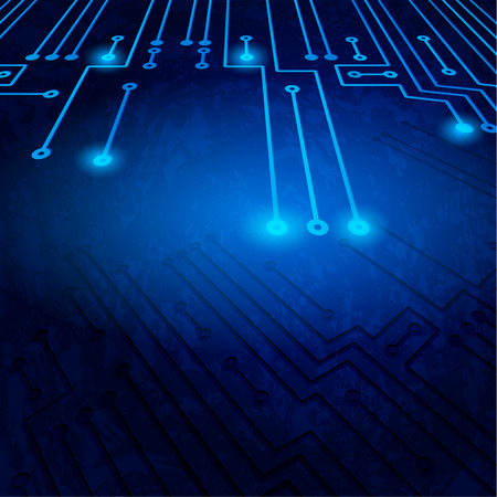 computer hardware: Drawing modern electronic circuit on blue background