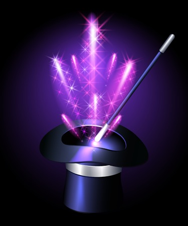 Conjurer hat with magic wand and sparkle fireworks Vector