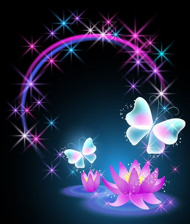 Magic lilies with butterflies and star frame Vector