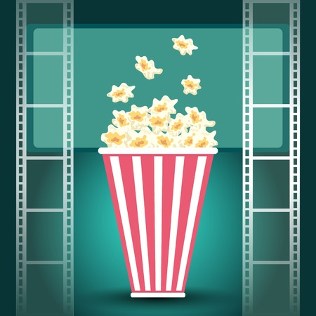 cinematograph: Package with popcorn in dark movie theater with luminous screen and film strip Illustration