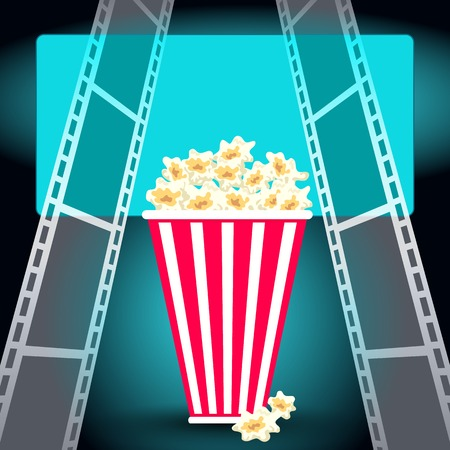 movie theater: Package with popcorn in dark movie theater with luminous screen and film strip Illustration