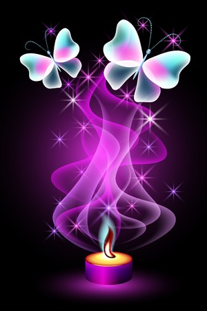 Burning candle with fabulous butterflies and magic stars