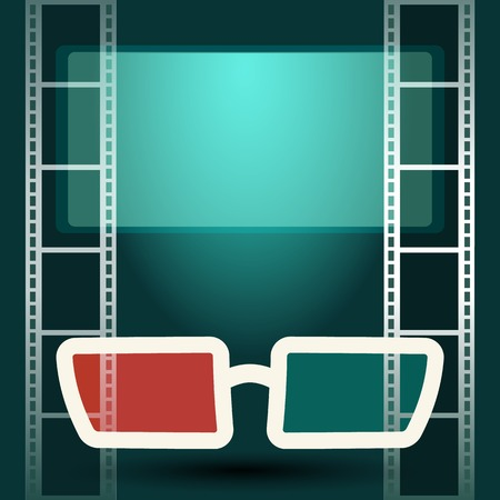 cinematograph: 3d glasses in dark movie theater with luminous screen and film strip Illustration