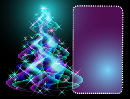 Fantastic Christmas tree and glowing frame Vector