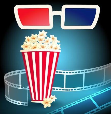 cinematograph: Gafas 3d en cine oscuro con palomitas de ma�z y tira de pel�cula Vectores