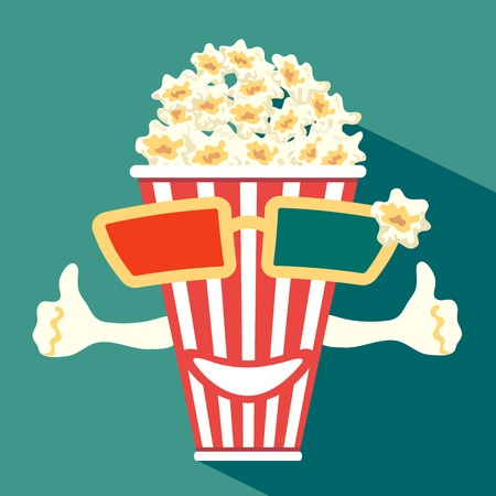3d glasses put on a box with popcorn, who smiles Illustration