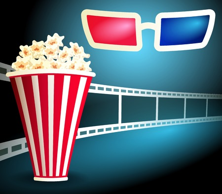 3 d glasses: Package with popcorn on the blue background with curving film strip and 3d glasses