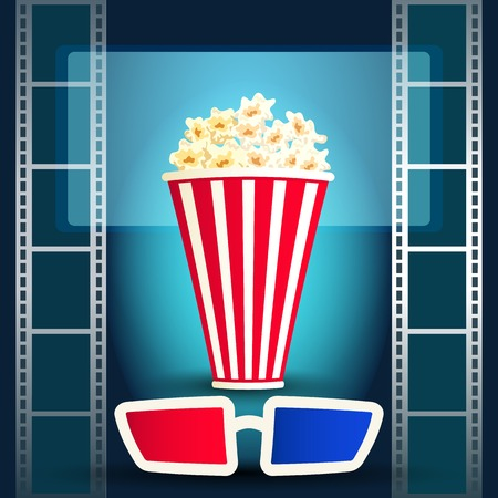 cinematograph: Package with popcorn on the blue background with film strip and 3d glasses Illustration