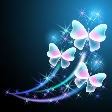 Glowing butterflies with sparkle stars Banco de Imagens - 32406416