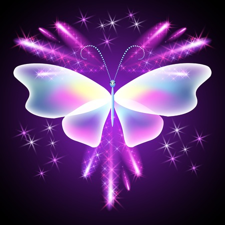 fab: Neon butterfly and glowing salute Illustration