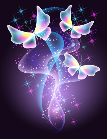 Glowing butterflies and smoke with sparkle stars Vector