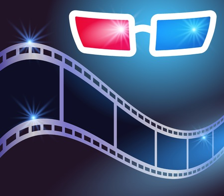 3d glasses in dark movie theater and film strip