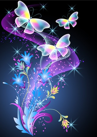 Glowing background with smoke, flowers and butterfly Banco de Imagens - 32406425