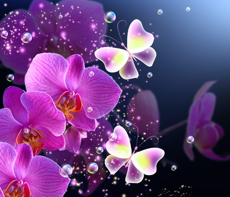 Magic butterfly with pink orchids and flying bubbles photo