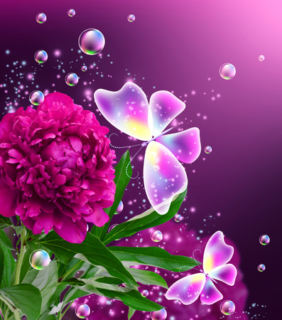 Magic butterflies with pink peony and flying bubbles photo