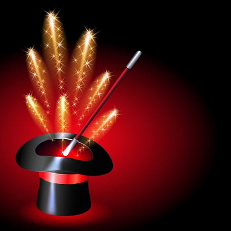 conjurer: Conjurer hat with magic wand and sparkle fireworks on red background Illustration