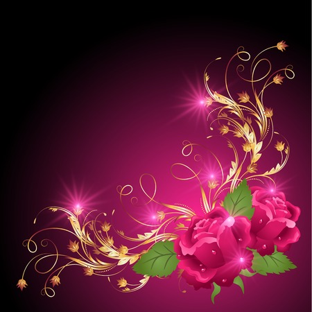 dewdrops: Pink rose with golden ornament and glowing stars Illustration