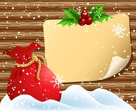 Christmas paper signboard on wooden wall and santa bag Vector