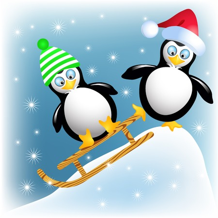 Funny penguins with sledding Vector
