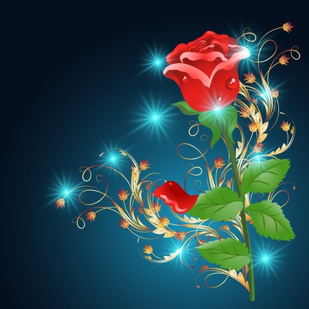 Red rose with golden ornament and glowing stars on the blue background Vector