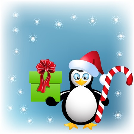 comfit: Penguin with Christmas candy and gift box on the snow background