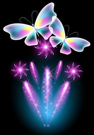 салют: Neon бабочка и светящиеся салют