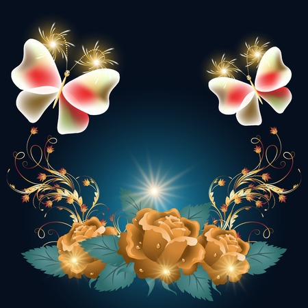 Yellow roses and transparent fabulous butterflies on the blue background Vector