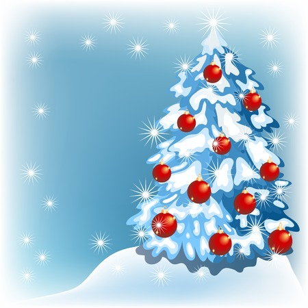 fur trees: Christmas background with fur trees and red balls Illustration