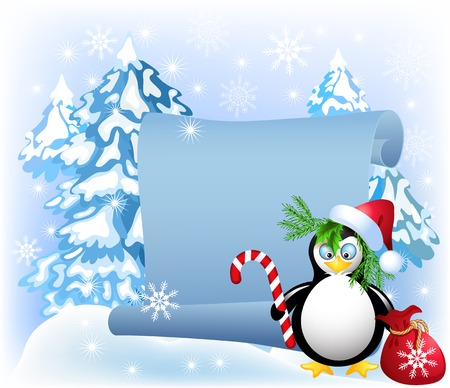 bagful: Penguin with Christmas candy on the scroll background in the forest Illustration