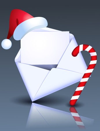 christmas mail: Open Christmas envelope with Christmas candy and Santa hat