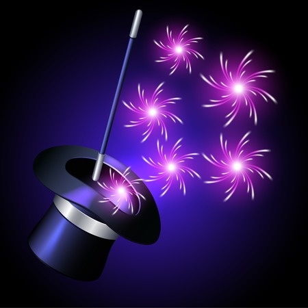 illusionist: Conjurer hat with magic wand and sparkle fireworks