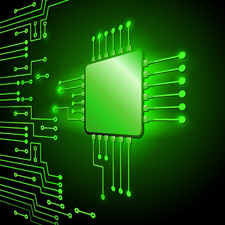 electronic background: Drawing modern electronic circuit on green background