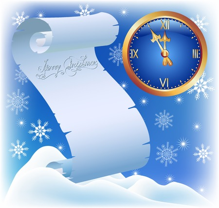 snow drifts: Parchment and chimes on the background of snowflakes and snow drifts. Christmas card. Illustration