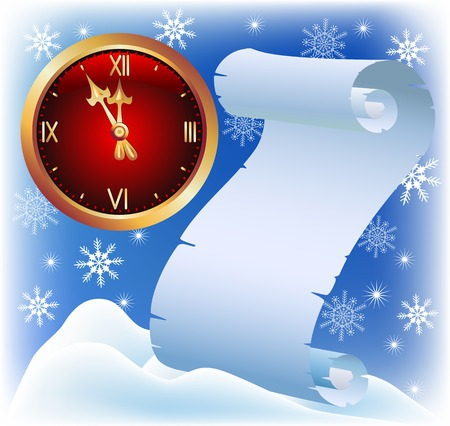 Parchment and chimes on the background of snowflakes and snow drifts. Christmas card. Vector