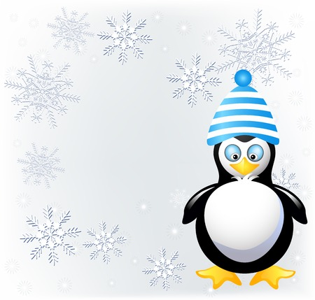 pompon: Amusing penguin in knitted hat with pompom and place for inscription
