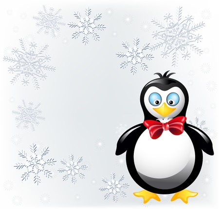 carnival costume: Amusing penguin in bow tie and place for inscription Illustration