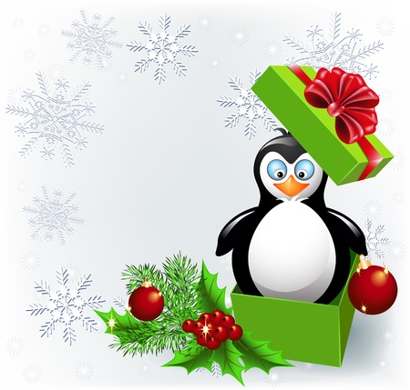 Penguin in the Christmas gift box and place for inscription Illustration