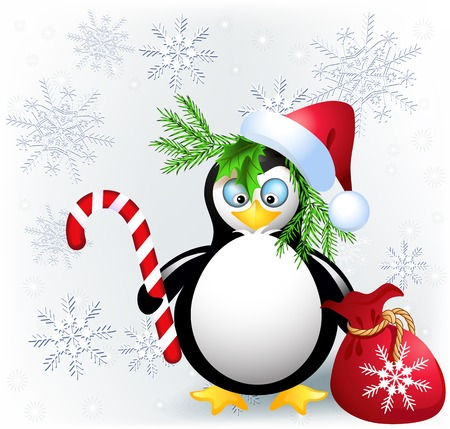 comfit: Penguin with Christmas candy, red bag and Santa hat