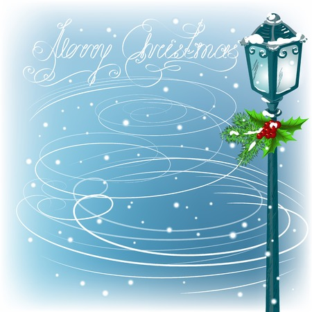 Christmas vintage streetlamp on the evening landscape background in a blizzard Vector